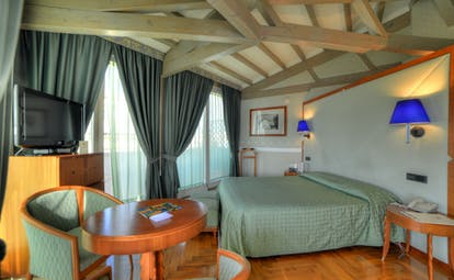 Superior sea view room with green and blue colour scheme, double bed, television and view over the sea