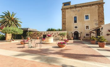 Hotel Baglio Della Luna Sicily exterior hotel building patio outdoor seating