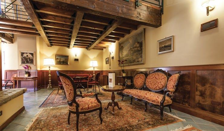 Hotel Baglio Della Luna Sicily lounge indoor communal seating area traditional décor