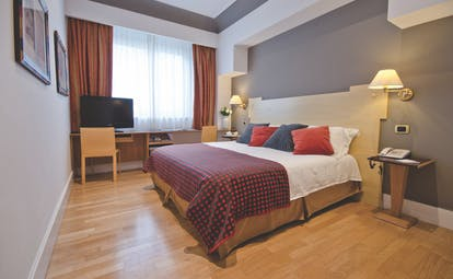 Superior double room at the Hotel Plaza Opera with a large bed, television and large windows