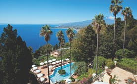 Hotel Villa Belvedere Sicily aerial shot of pool and terrace sea mount etna in background
