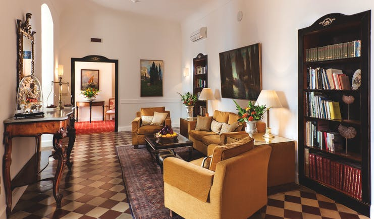 Hotel Villa Belvedere Sicily reading lounge communal seating area stylish décor
