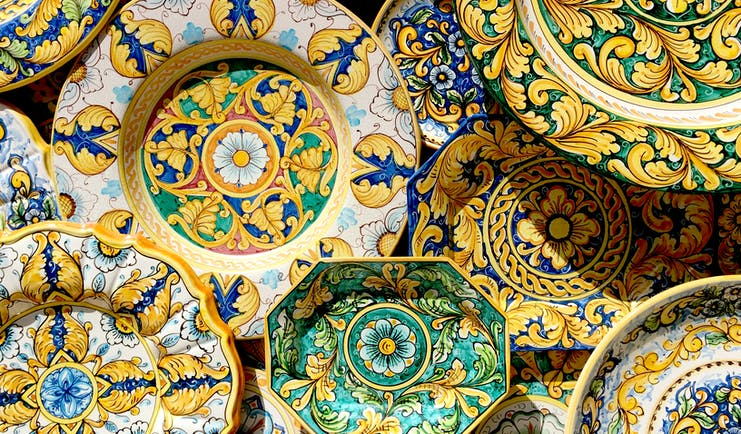 Byzantine style of colourful ceramic dishes from Erice in Sicily