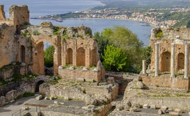 Columns and arches of the Greek theatre in Taormina