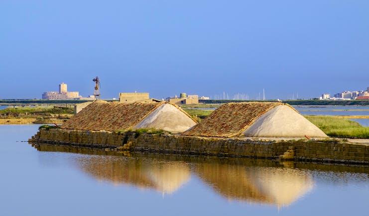 Mounds of salt on the seaside in Marsala Sicily
