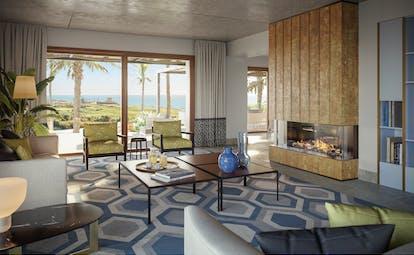 Verdura Resort living room with blue geometric floor of private villa