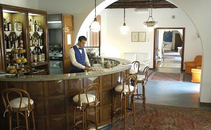 Villa Meligunis Sicily bar bartender traditional décor