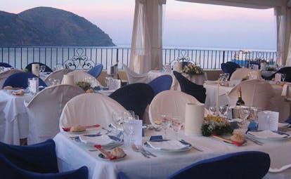 Villa Meligunis Sicily restaurant covered dining area sea views