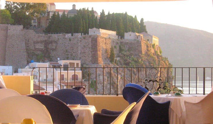 Villa Meligunis Sicily terrace restaurant view of ancient town and sea