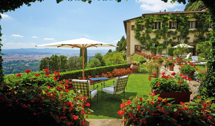 Villa San Michele Tuscany gardens lawns outside seating countryside views