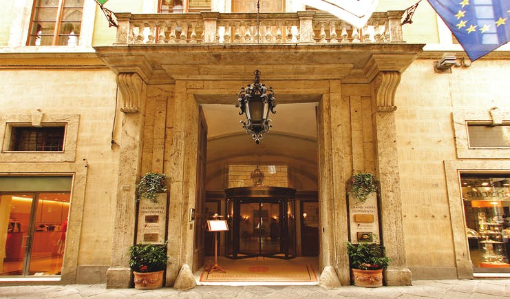Grand Hotel Continental Tuscany entrance large stone doorway
