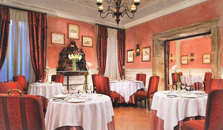 Grand Hotel Continental Tuscany indoor dining area ornate décor