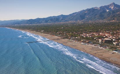 Hotel Byron Tuscany aerial shot of sea and beach