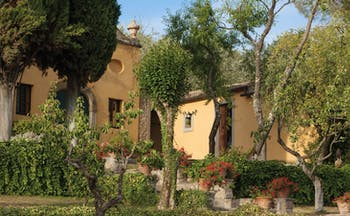Il Faconiere Tuscany exterior hotel front trees and potted plants