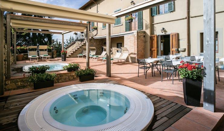 Palazzo Leopoldo Tuscany hot tubs outside seating area