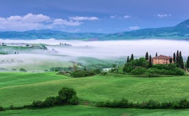 Farmhouse in green rolling fields surrounded by cypress trees in swirling mist