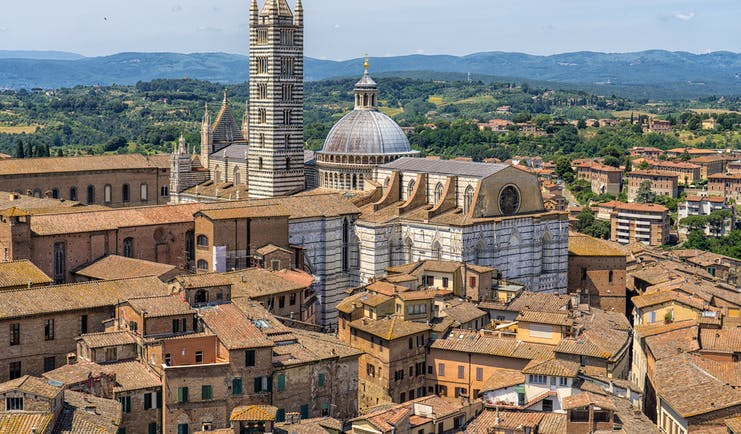 Terracotta roofs of historic houses in Siena with the dome and tower of the cathedral