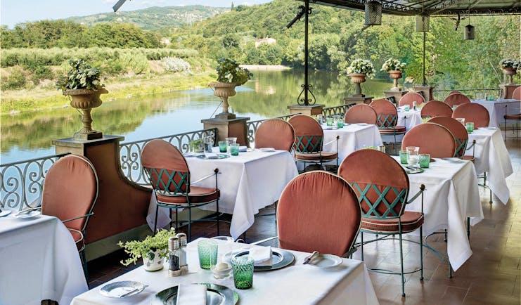 Villa La Massa Tuscany terrace restaurant out door dining overlooking the river Arno