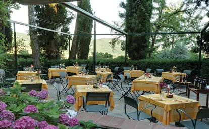 Outdoor dining terrace with flowers around and tables set up with a yellow table cloth