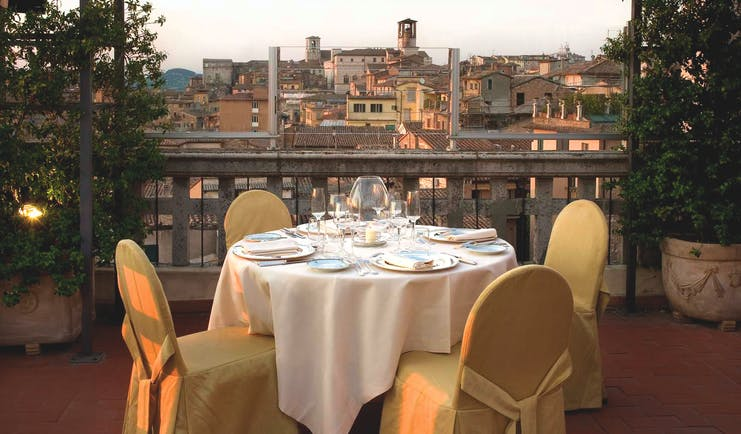 Hotel Brufani Palace Umbria balcony dining outdoor dining city views