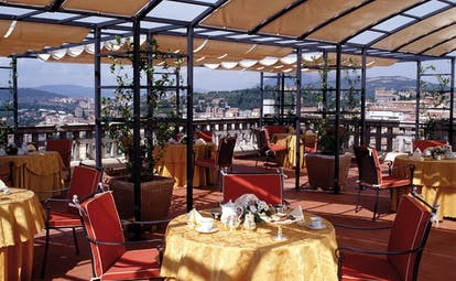 Hotel Brufani Palace Umbria terrace restaurant outdoor dining overlooking city