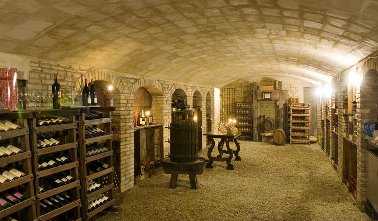 Wine cellar with racks of bottles