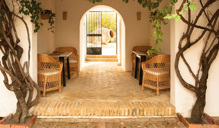 Courtyard with archway, chairs and vines