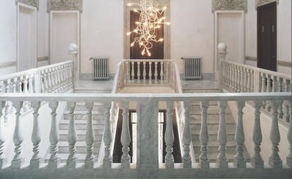 Palacio de los Patos Granada staircase marble staircase modern chandelier