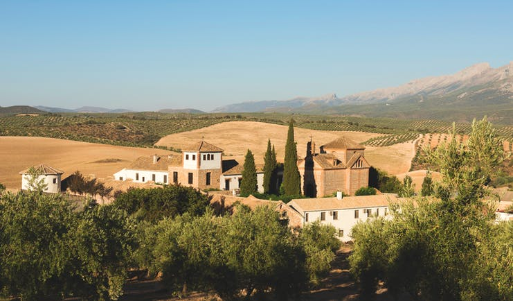 Cortijo de Marques Andalucia aerial shot hotel building countryside surrounds mountain