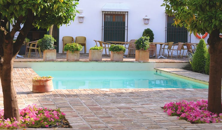 Hotel Puerta de la Luna Andalucia pool seating wicker chairs trees