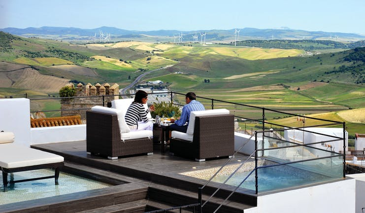 Hotel V Andalucia terrace outdoor seating views of countryside