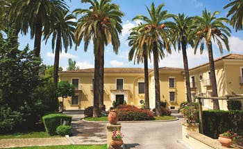 Villa Jerez Andalucia exterior hotel building driveway palm trees