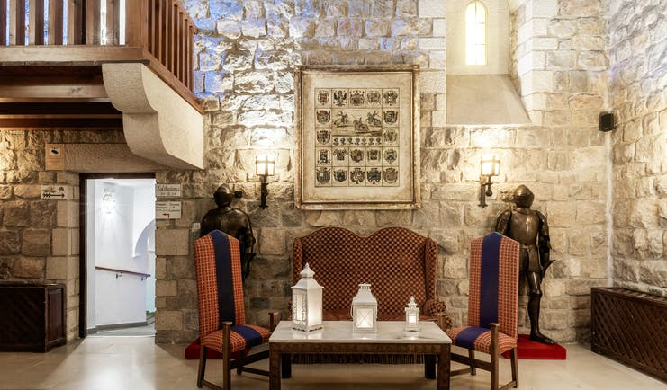 Parador de Jaen interior loung with stone walls