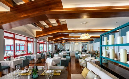 Parador de Nerja resturant, tables and chairs, bright decor
