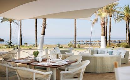 Puente Romano Marbella restaurant terrace outdoor dining sea views