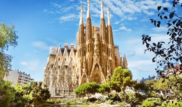Gaudi's gothic fantasy cathedral with ornately carved spires of La Sagrada Familia in Barcelona