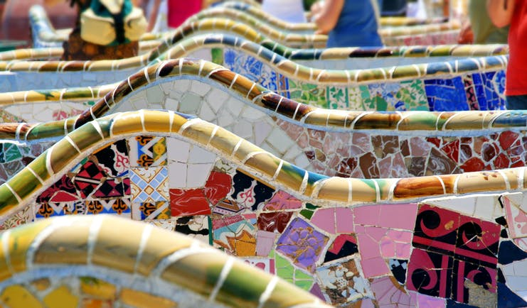 Multi-coloured mosaic of the Parc Guell in Barcelona