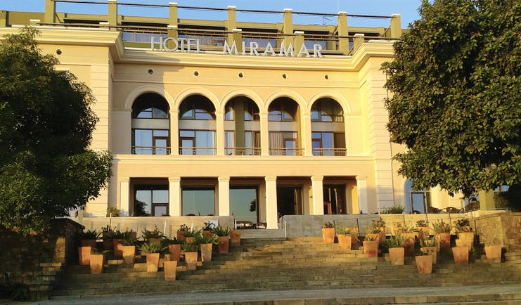Hotel Miramar Barcelona exterior front of building stone steps entrance