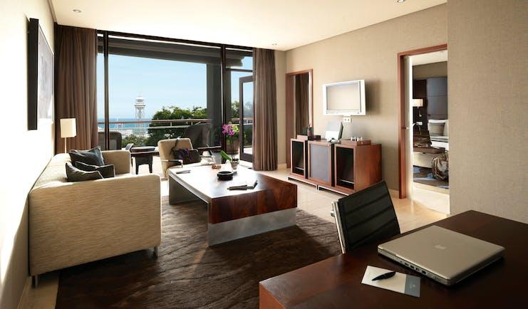 Hotel Miramar Barcelona grand suite living area separate bedroom balcony modern décor