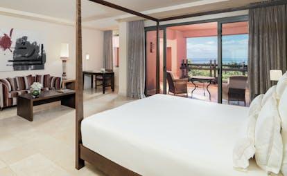 Abama Tenerife junior suite contemporary décor bed sofa sea views
