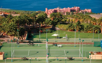 Abama Tenerife tennis courts hotel and sea in background