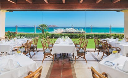Gran Hotel Atlantis Bahia Fuerteventura terrace restaurant views across the lawn and sea