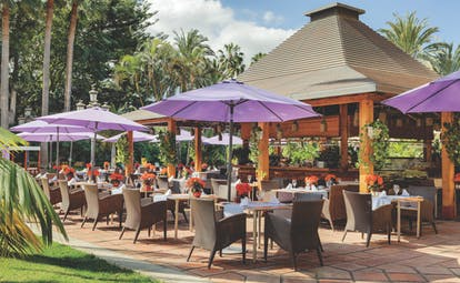 Hotel Botanico Tenerife Palmera Real restaurant outdoor dining umbrellas trees