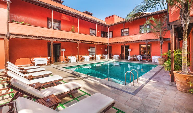 Hotel San Roque Tenerife pool sun loungers pool in courtyard