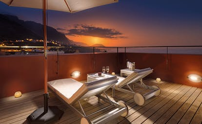 Hotel San Roque Tenerife terrace at night sun loungers views over island and sea