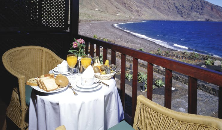 Parador de el Hierro Canary Islands balcony private seating area overlooking beach and mountains