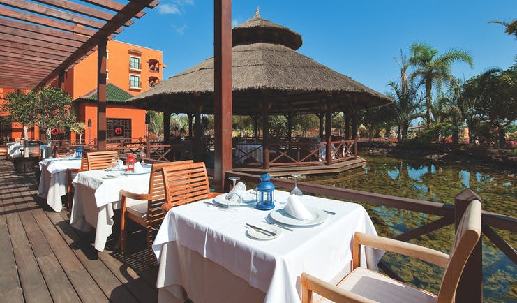 Sheraton Fuerteventura Canary Islands terrace outdoor dining overlooking water pond