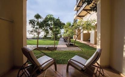 La Plantacion del Sur Tenerife terrace sun loungers lawn trees