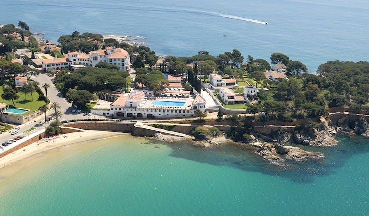 Hostal de la Gavina Catalonia aerial shot hotel resort coast line