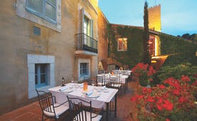Hotel Mas la Boella Eastern Spain outdoor dining area flowers